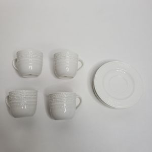 Pottery Barn set of four 4 cups and saucers